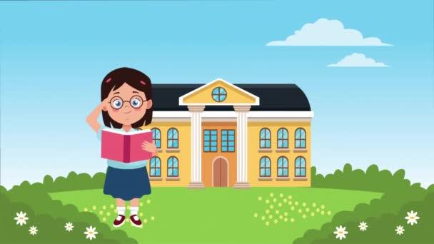 vissza a tanévadba az iskolaépülettel és a kislánnyal