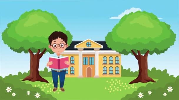 zpět do školní sezóny se školní budovou a chlapečkem