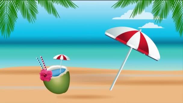 Hello nyári ünnepi poszter kókuszkoktéllal és esernyővel