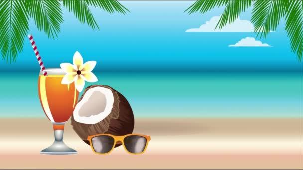 hello nyári ünnepi poszter kókuszdióval és trópusi koktélkupával