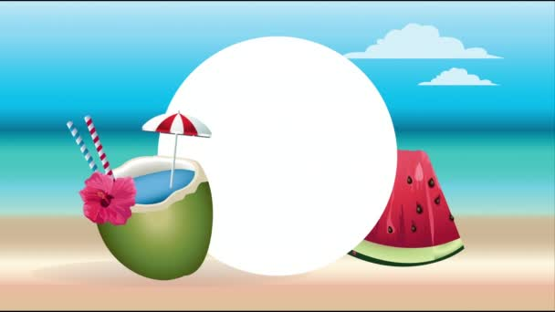 Hello letní prázdninový plakát s kokosovým koktejlem a melounem