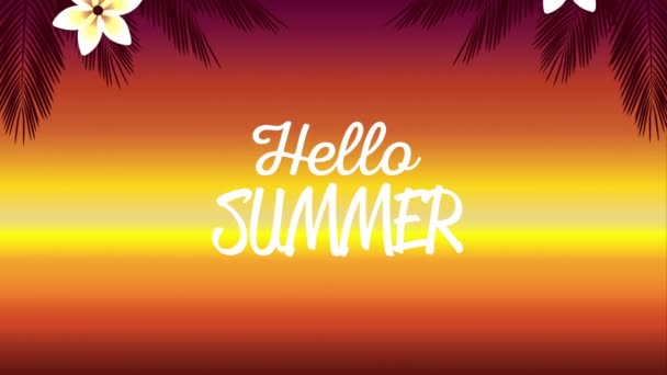 hello summer holiday poster with tropical flowers and leafs background