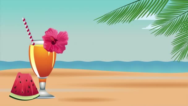 hello summer holiday poster with tropical cocktail and watermelon