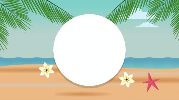 Ahoj letní prázdninový plakát s plážovou scénou