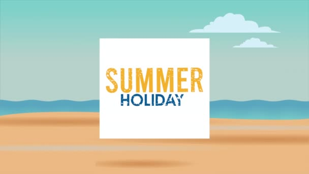 hello summer holiday poster with lettering and tropical flowers