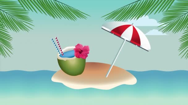 hello summer holiday poster with coconut cocktail and umbrella