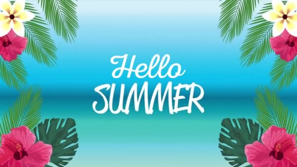 hello summer holiday poster with lettering in tropical flowers and leafs