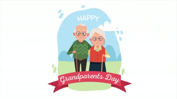 happy grandparents day card with old lovers couple and ribbon in the camp