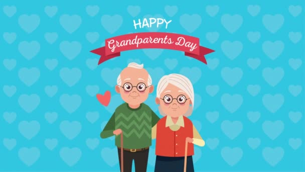 happy grandparents day card with old lovers couple