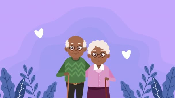 happy grandparents day card with afro old lovers couple