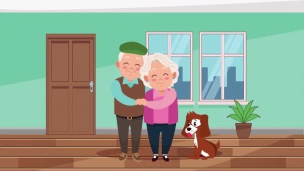 happy grandparents day card with old lovers couple and mascot