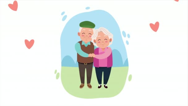 happy grandparents day card with old lovers couple in the camp