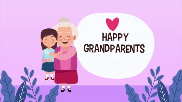 happy grandparents day card with grandmother lifting granddaughter