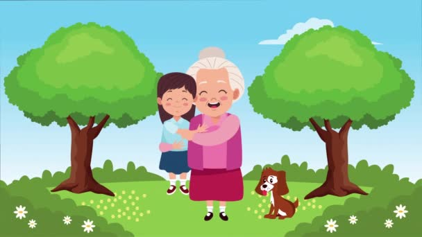 happy grandparents day card with grandmother lifting granddaughter and mascot in the camp