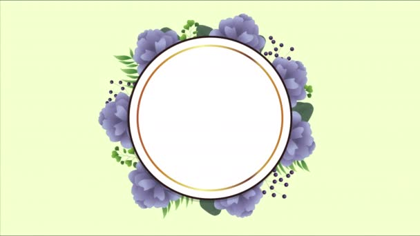 beautiful floral decoration in circular frame with purple roses