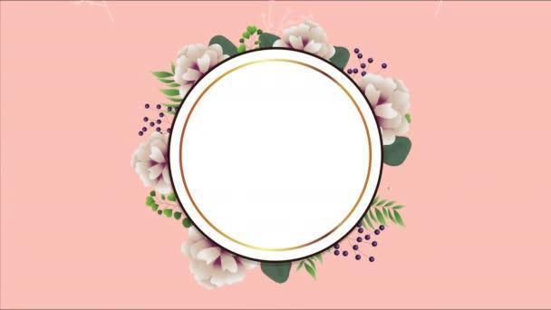 schöner Blumenschmuck in rundem Rahmen mit weißen Rosen