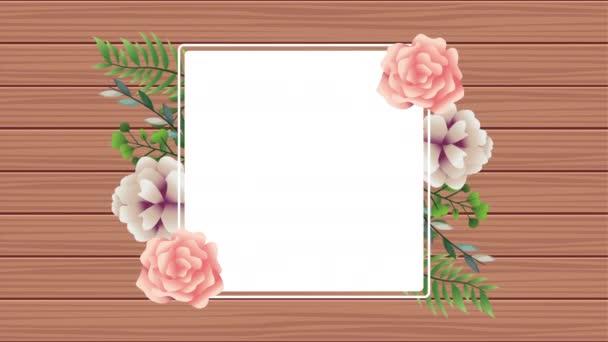 gyönyörű virág dekoráció négyzet alakú keretben rózsaszín rózsákkal