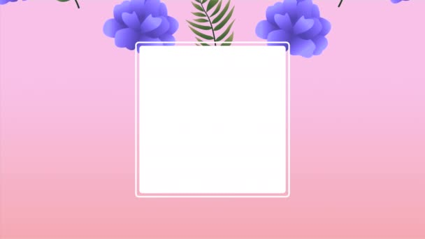 schöner Blumenschmuck im quadratischen Rahmen mit lila Rosen