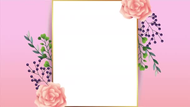 beautiful floral decoration in frame with pink roses