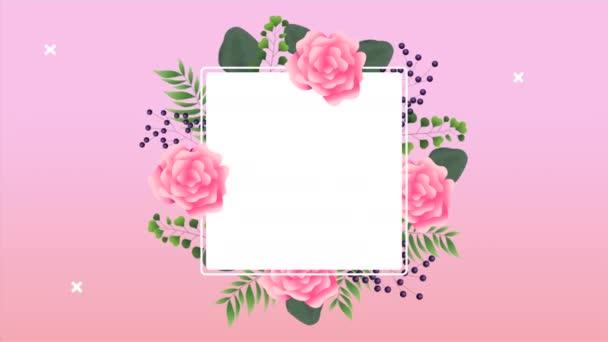 schöner Blumenschmuck im quadratischen Rahmen mit rosa Rosen