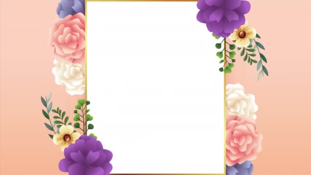 beautiful floral decoration in frame with colors roses