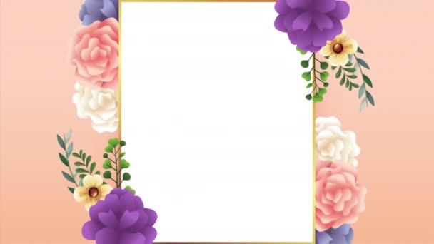 gyönyörű virágos dekoráció keretben színes rózsákkal