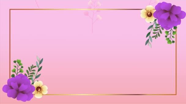 schöner Blumenschmuckrahmen mit lila Rosen