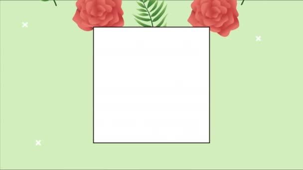 schöner Blumenschmuck im quadratischen Rahmen mit roten Rosen