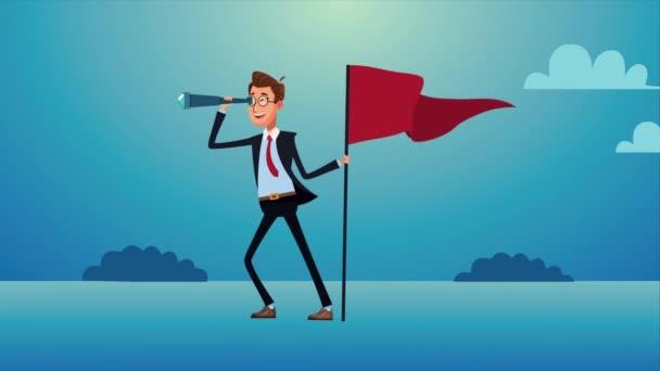 elegantní podnikatel s dalekohledem a vlajkou úspěchu