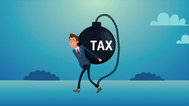 elegant businnessman lifting tax fetter character animated