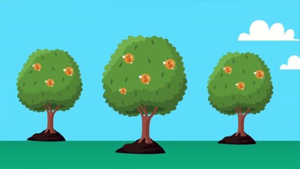 mince peníze dolary rostlinné animace