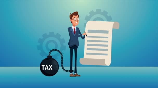 elegant businnessman lifting tax fetter and document character animated