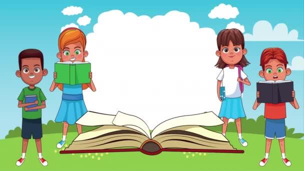 malé studentské děti čtení knih v táboře animované postavy