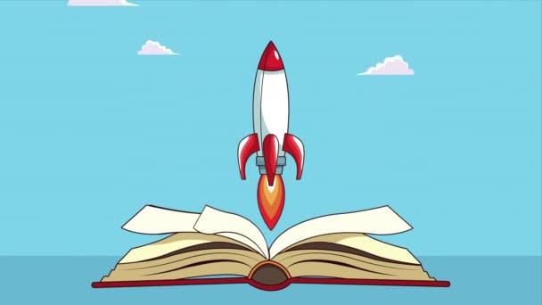 Lehrbuch mit Raketenanimation geöffnet