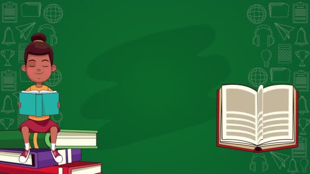 afro little student girl reading books animated character