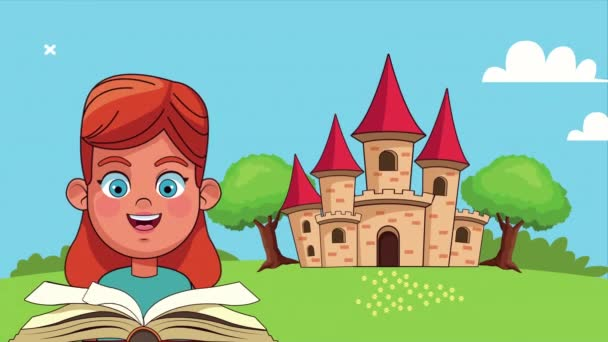 little student girl reading book in the camp with castle animated character