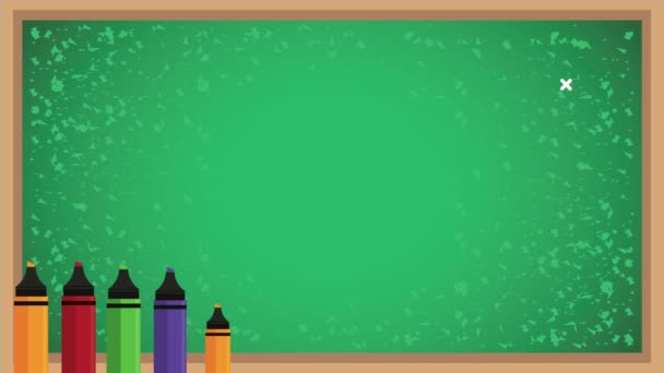 back to school animation with chalkboard and crayons