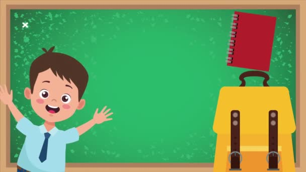 back to school animation with chalkboard and boy