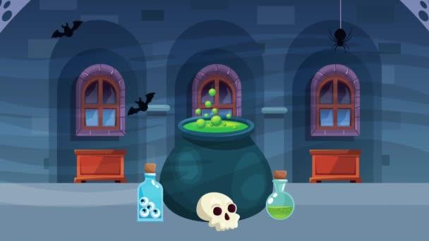 boldog halloween animációs jelenet boszorkány üsttel