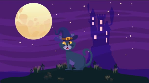 happy halloween animated scene with little cat and castle