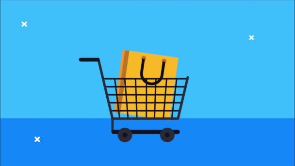 animace nákupu na trhu s vozíkem a taškou