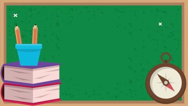 Vissza az iskolába animáció táblával és kellékekkel