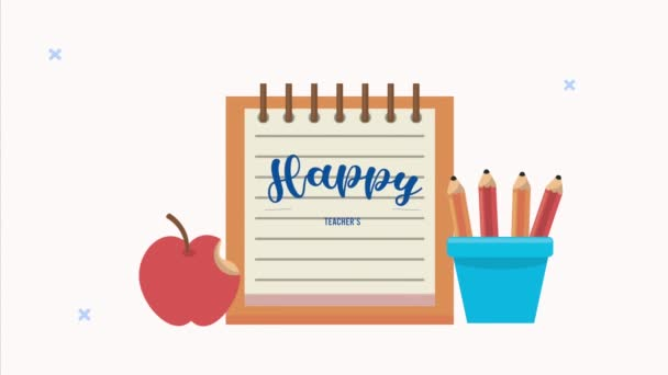 happy teachers day animation lettering with notebook and apple