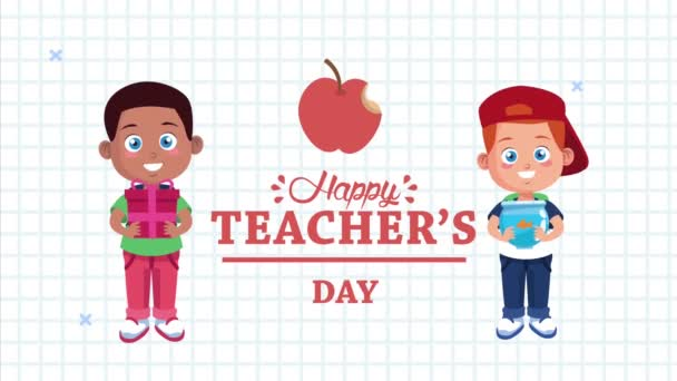 happy teachers day animation lettering with schoolboys and apple