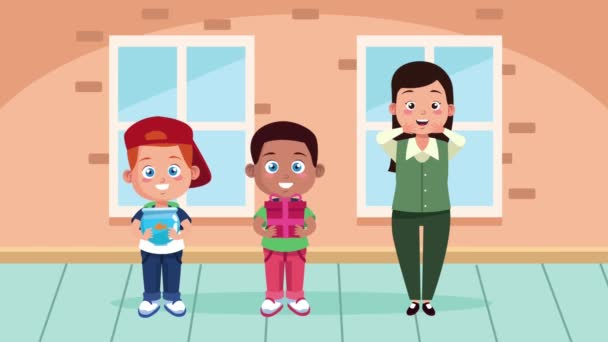 female teacher character animation with schoolboys characters