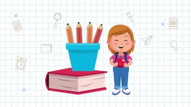 kis iskoláslány animációs karakter könyvvel és ceruzával
