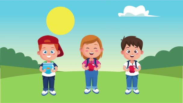 little students kids animation characters in landscape scene
