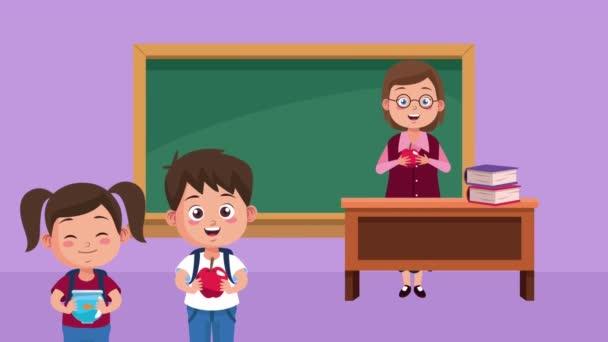 női tanár karakter animáció diákokkal az osztályteremben
