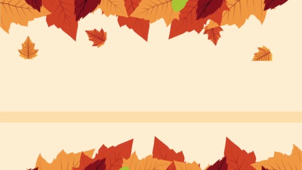 hello autumn animation with leafs frame
