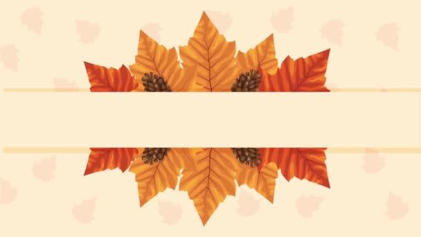 hello autumn animation with leafs decoration